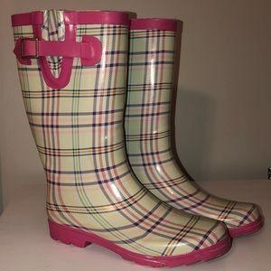 Pink plaid rain boots